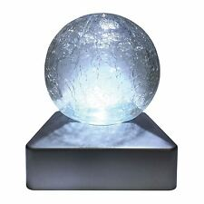 SOLAR LED CRACKLE GLASS BALL POST GARDEN DECK CAP LIGHT SQUARE OUTDOOR LIGHTS