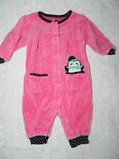 CARTERS girls Bright Pink Black White POLKA DOT Penguin Romper* 3 months