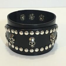 Three Skulls with Studs around Adjustable Leather Bracelets Biker Punk Bracelets