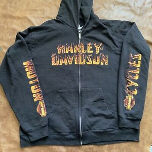 harley davidson zip up hoodie xl fire double sided biker built