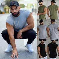 Gym Mens Sports Muscle T-shirt Short Sleeve Fitness Bodybuilding Tops Tee US