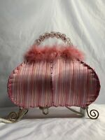 Victorian Style Pink Purse Table Lamp Home Decor Night Light Beaded Handle GIFT
