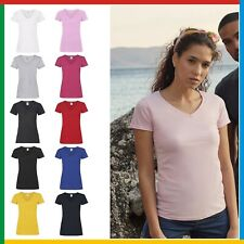 LADIES T-SHIRT (Fruit of the Loom Short Sleeve Tee) V NECK TEE - 10 Colours