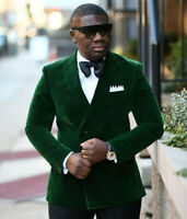 Green Men's Slim Fit Double Breasted Velvet Blazer Wedding Groom Tuxedo Suit