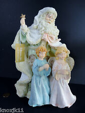 NEW Roman Inc MUSICAL SANTA w/ 2 TWINS ANGEL CHILDREN Music Box Silent Night NIB