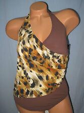 ALEX MARIE~10~Brown Animal Suit Yourself Slim Halter Wrap One-Piece Swimsuit
