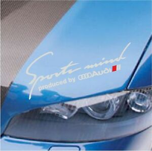 "SPORTS MIND PRODUCED BY AUDI A3 A4 A5 A6 A7 A8 S4 S5 S6 DECAL STICKER SILVER 12"""