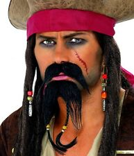 Mens Caribbean Pirate Fancy Dress Tash & Beard Bierd Jack Sparrow New by Smiffys