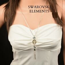Sautoir long collier pendentif rangée zirconium  pompon Swarovski® Elements