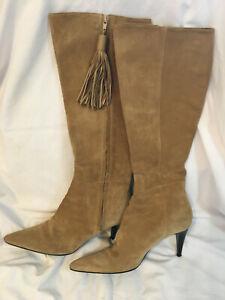 Knee High Boots ANNE KLEIN 8.5M Tan SUEDE Pointed Toe FANCY Stiletto Heel TASSEL