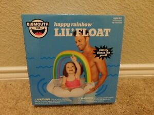 Brand new in the box Bigmouth Inc. Happy rainbow lil' kids pool float