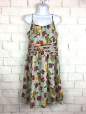 Anthropologie Anna Sui 10 Dress Mint Floral Roses Romantic Silk Peasant babydoll