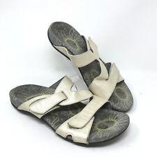 Vionic Lauren Womens 10M Ivory Croc Embossed Adj. Strap Orthotic Sandals Slides