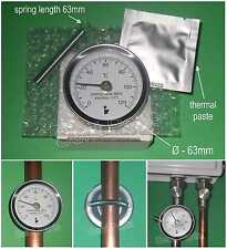 CLIP ON PIPE THERMOMETER TEMP. GAUGE 0-120 °C with SPRING & THERMAL PASTE 01090