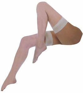 Ladies Sexy Sheer 10 Denier Thigh High Wedding Satin Smooth Top Hold Ups