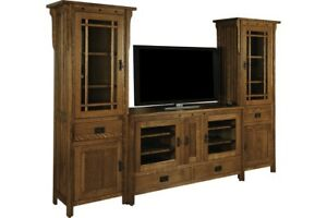Amish Arts & Crafts Solid Wood Entertainment Center Wall Unit Royal Mission