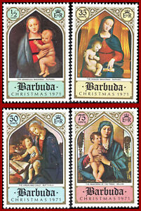 Barbuda 1971 ART, Christmas paintings by Raphael, Bellini, Botticelli, SG 98-101