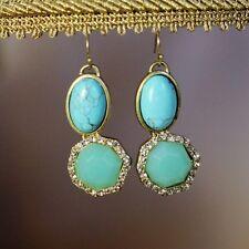 Boucles d'Oreilles Turquoise Ovale Irregulier Bleu Original Soirée Mariage CC 4