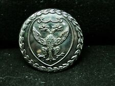 Two-Headed Eagle On Shield w Wreath Border 26mm S/P Livery Button Platt c 1900