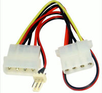 Power Adapter Cable 4 pin LP4 Molex Female to 3 pin long Fan cable