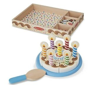 Melissa & Doug Birthday Party Pretend Play Cake Wooden Food With Toppings MD-511