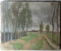 Tableau ancien Post-impressionnisme Paysage Campagne Arbres Huile Toile c1940