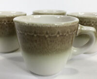 Syracuse China Econo Rim Restaurant Ware Cups Set Of 4 Vintage Mossy Green USA