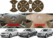 Brown Replacement Steering Wheel Button Sticker Mercedes C Class E Class G Class