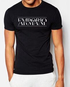 EMPORIO ARMANI Schwarz Herren T-shirt Teilt Logo -Größe: M,L,XL