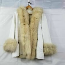 Vintage Woman's Unbranded Tailor Made White Leather With Fox Fur Trim
