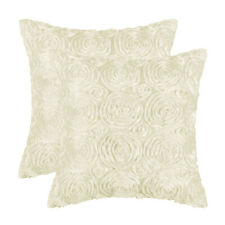 """2Pcs Beige Cushion Covers Cases Shells Couch Sofa Home Decor Roses Floral 18x18"""""""