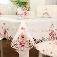 Rectangular Lace Tablecloth Embroidered Floral Table Placemat Doily Dining Decor