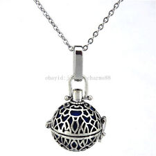 V166 Vintage Copper Round Leaf Locket Necklace Bead Cage Stainless Rolo Chain
