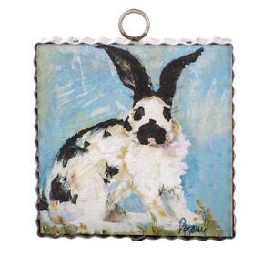 Round Top Collection NWT - Mini Rozie Checkersmith Rabbit Print - Metal & Wood