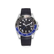 40mm Parnis black/blue Bezel Black Dial Automatic Sapphire Rubber Strap Watch