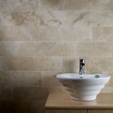 Cut down sample of classic kremna honed & filled travertine tiles 61 x 15cm