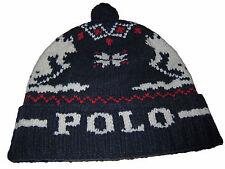 Polo Ralph Lauren Blue Ski Winter Lambs Wool Beanie Pom Pom Stocking Hat Cap
