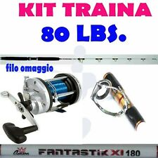 canna da pesca traina 50/80 libre tonno ricciola dentice + mulinello rotante