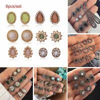 Bohemia Boho Stud Dangle Drop Earrings Set Cross Moon Flower Women Jewelry Gift