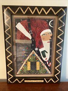 Chris Roberts-Antieau - 'Santa Claus' Framed Fabric Artwork - 19.5x14.5