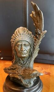 "Native American bronze sculpture signed 13"" tall x 6"" x 6"""