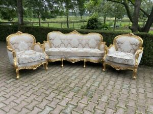 Handcrafted French Louis XVI Style Gold/beige 3-piece Set