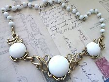 Vintage Trifari Necklace White Cabachon Unsigned Choker