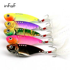 INFOF 5PCs 5.5cm/11.8g VIBE Fishing Lures Blade Metal Fishing Bait Treble Hooks