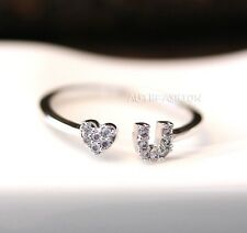 Love You Heart Ring Tiny Crystal Infinite Love Best Friend Adjustable Ring