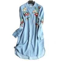 Casual Lady Denim Floral Dress Embroidered Long Sleeve Tunic Shirt Tops PlusSize