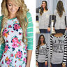 New Women's Stripe Casual Long Sleeve Tops Loose Blouse Ladies Summer T Shirt
