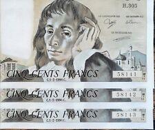 Suite de 3 Billets 500 francs PASCAL 1 - 2 - 1990 H.305 numéros consécutifs NEUF