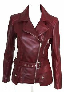 Cara Ladies women's Plum Designer Model Party Clubbing Real Leather Jacket