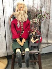 "Primitive Prim Santa Doll with Sleigh, 32"""
